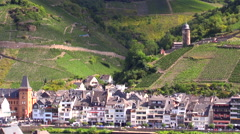 Zell Germany village on Mosel River Round Tower Stock Footage