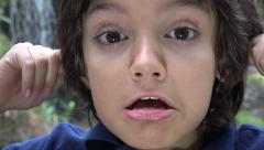 Preteen Hispanic Boy Making Funny Faces Stock Footage
