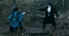 Long Shot Female Adventure Musketeers fight sword - stock footage