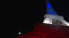 Tour Eiffel - Eiffel Tower — blue white red Stock Footage