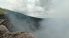 Looking in the crater of the Masaya vulcano Stock Footage