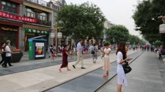Qianmen shopping Pedestrian Street is located in old center of Beijing - stock footage