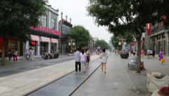 Qianmen shopping Pedestrian Street is located in old center of Beijing Stock Footage