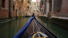 Stock Video Footage of Gondola through the canals of Venice