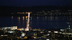 Timelapse of traffic on Tay Road Bridge Dundee at night Scotland Stock Footage