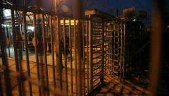 Palestinians cross Checkpoint to Israel in a cage-like structure Stock Footage