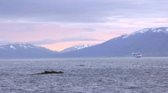ICELAND Eyafjoerdur AIDA nova cruise-ship Kreuzfahrtschiff Stock Footage