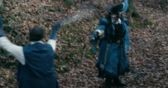 Medium Shot Two Musketeers Fight SwordMusketeers fencing in forest - stock footage