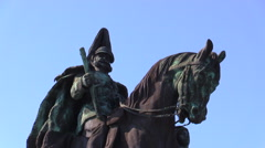 Closeup of monument to German Emperor William I Stock Footage