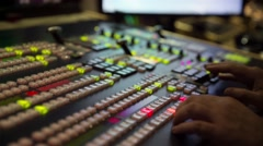 Broadcast Tv Studio Production - Vision Switcher Studio Director Stock Footage
