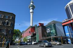 Skycity Auckland and Sky tower in Auckland New Zealand - stock photo