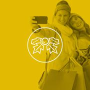 Stock Illustration of Composite image of smiling women making a selfie