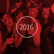 Stock Illustration of Composite image of attractive women wearing masks holding champagne