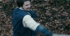 Musketeers smile sword fight forest - stock footage