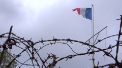 French flag and rusty barbed wire on cloudy sky. Old battlefield, war site Stock Footage