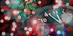 Stock Illustration of Composite image of countdown to midnight on clock