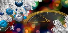 Composite image of christmas tree decorated with golden ornaments - stock illustration