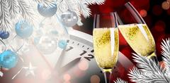 Stock Illustration of Composite image of champagne glasses clinking