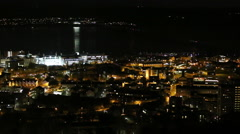 Timelapse of Dundee cityscape and Tay Rail Bridge at night Scotland Stock Footage