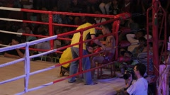 Rest in corner at thai boxing,Ubon Ratchathani,Thailand Stock Footage