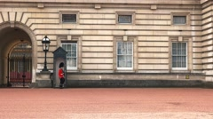 Guard on duty marching at buckingham palace, london Stock Footage