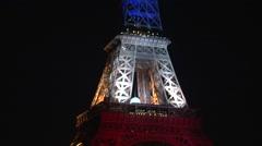 Tour Eiffel - Eiffel Tower — blue white red - stock footage