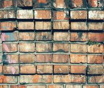 Background of colorful brick wall texture. brickwork Stock Photos