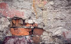Background of colorful brick wall texture. brickwork - stock photo