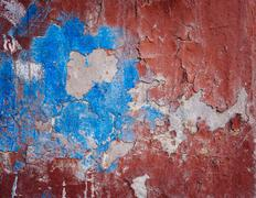 Background of old colorful peeling paint wall Stock Photos