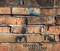 Stock Photo of Background of colorful brick wall texture. brickwork