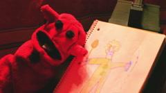 creepy kids show puppet thing weird - stock footage