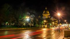 St. Isaac's Cathedral at night, St. Petersburg, Russia - stock footage