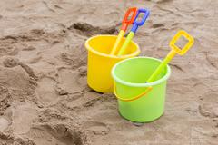 Kid's toys for playing sand bucket and shovel in playground, enjoy with activ Stock Photos