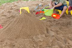 kid's toys for playing sand bucket and shovel in playground, enjoy with activ - stock photo