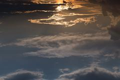 beautiful sky, sunrise above blue sky and clouds, abstract cloudscape backgro - stock photo