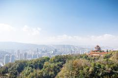 Landscape of temple on hill in clear sky,cityscape distant Stock Photos