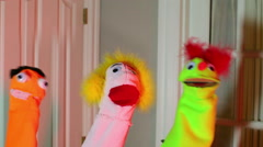 Puppet party 3 puppets dancing Stock Footage