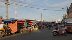 Motorcycles at market,Surin,Thailand Stock Footage