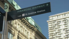 Financial District Sign Static Shot. Stock Footage
