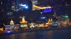 Beautiful view of Shanghai - Bund or Waitan waterfront at night,Shanghai Stock Footage