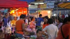 Food seller at night market,Surin,Thailand Stock Footage