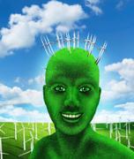 Green human's head on nature - stock photo