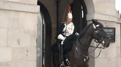 Wide view of a horse guard on duty, london Stock Footage