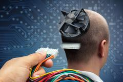 Connecting to cyborg - stock photo