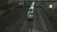 Go Train at Sunset in Downtown Toronto Stock Footage