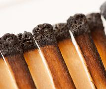 Burned wooden matches Stock Photos