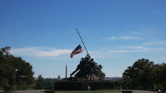 Iwo jima memorial, washington monument and capitol building Stock Footage