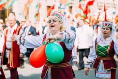 Women in national Belarusian folk costume participating in the p - stock photo