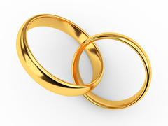 Connected gold wedding rings - stock illustration