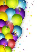 Stock Illustration of Birthday balloons on white background and confetti. Vector illustration for y